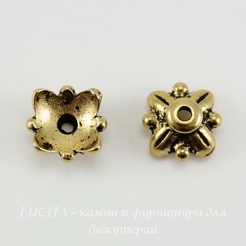 """Шапочка для бусины TierraCast """"4 листика"""" (цвет-античное золото) 8х4 мм ()"""