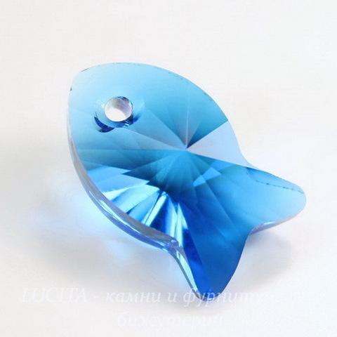 6727 Подвеска Сваровски Fish Capri Blue (18 мм) ()