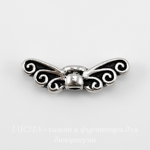 "Бусина TierraCast ""Крылья"" (цвет-античное серебро) 14х5 мм"