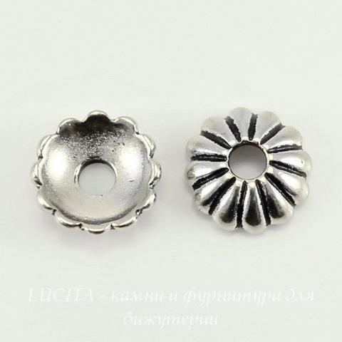 Шапочка для бусины TierraCast (цвет-античное серебро) 9х3 мм ()