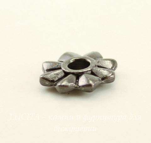 """Элемент под заклепку TierraCast """"8 Point"""" 10 мм (цвет-черный никель)"""