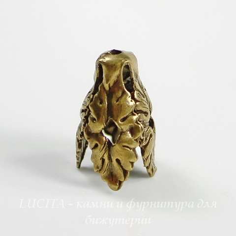Винтажный декоративный элемент - шапочка - конус 16х11 мм (оксид латуни)
