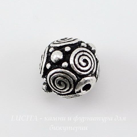 "Бусина - шарик TierraCast ""Спирали"" 8 мм (цвет-античное серебро) ()"