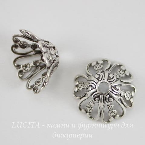 Винтажный декоративный элемент - шапочка 16х8 мм (оксид серебра) ()
