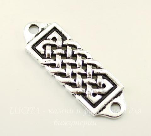 """Коннектор (1-1) TierraCast """"Кельтский"""" (цвет-античное серебро) 37х12 мм"""