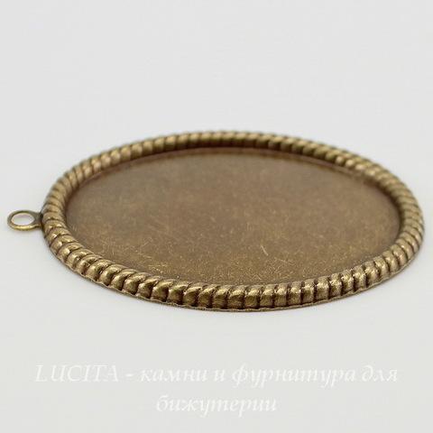 """Сеттинг - основа - подвеска """"Плетенка"""" для камеи или кабошона 40х30 мм (оксид латуни) ()"""