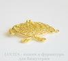 """Подвеска - филигрань , круглая , """"Рыбка"""" (цвет - золото) 36х34 мм"""