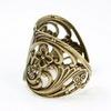 Винтажная основа для кольца (филигрань с цветочками) (оксид латуни)