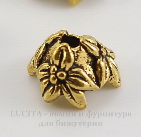 "Шапочка для бусины TierraCast ""Жасмин"" (цвет-античное золото) 7х4 мм"