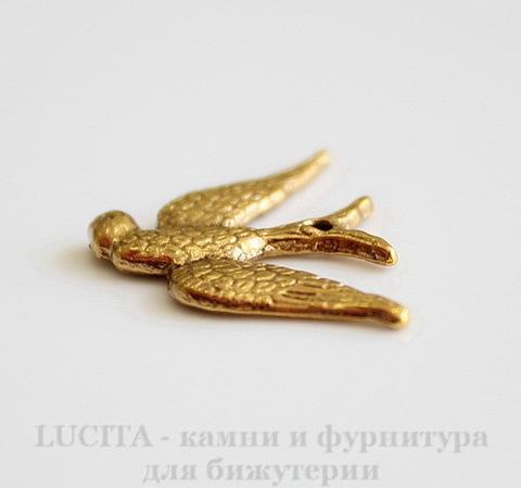 """Подвеска """"Птица"""" (цвет - античное золото) 25х17 мм"""