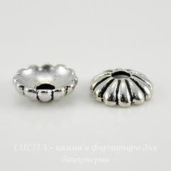 Шапочка для бусины TierraCast (цвет-античное серебро) 9х3 мм