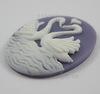 "Камея ""Лебеди"" белого цвета на сиреневом фоне 30х40 мм ()"
