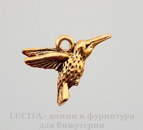 """Подвеска """"Колибри"""" (цвет - античное золото) 18х14 мм"""