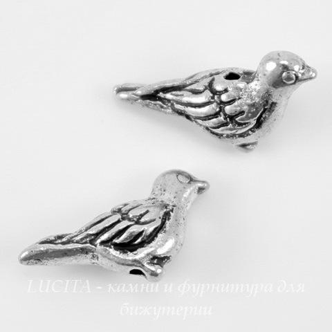 "Бусина TierraCast ""Птичка"" 15х7 мм (цвет-античное серебро) ()"