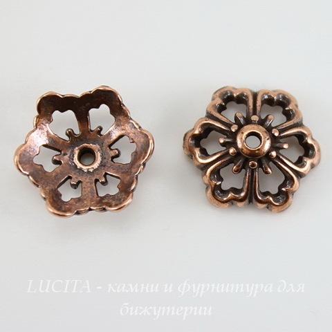 "Шапочка для бусины TierraCast ""Цветок"" (цвет-античная медь) 12х5 мм ()"
