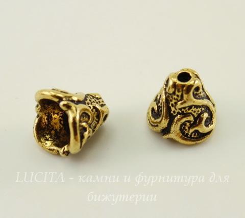 """Шапочка - конус для бусины TierraCast """"Лилия"""" 8х8 мм (цвет-античное золото)"""