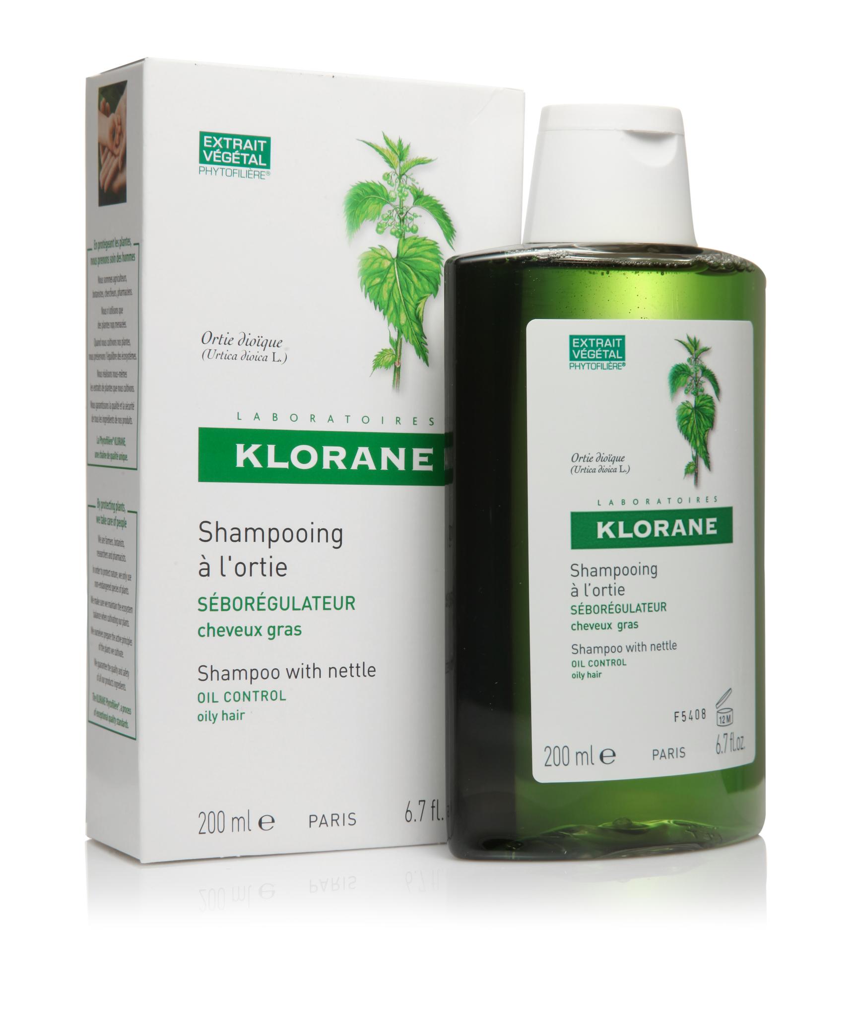 Klorane шампунь для жирных волос с экстрактом крапивы себорегулирующий 200 мл.