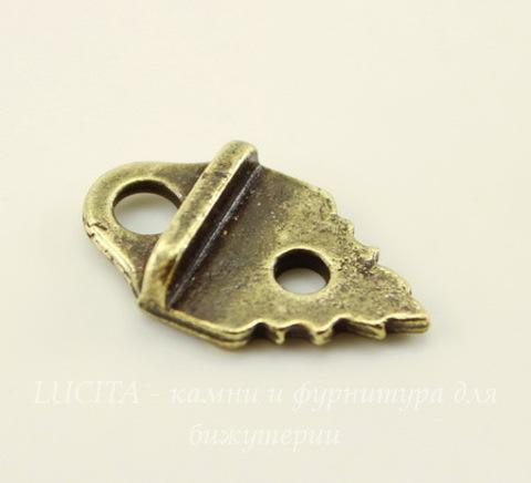"""Концевик для плоского шнура TierraCast """"Листик"""" (цвет-античная латунь) 19х11,5 мм"""