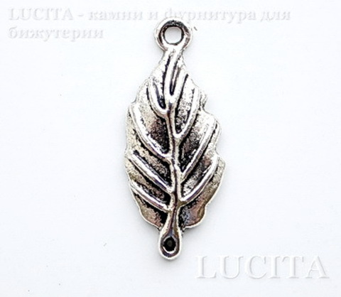 "Коннектор (1-1) ""Листик"" (цвет - античное серебро) 28х12 мм ()"