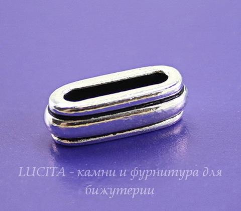 """Бусина для шнура 12х2 мм TierraCast """"Deco slide"""" (цвет-античное серебро) 17х7х6 мм"""