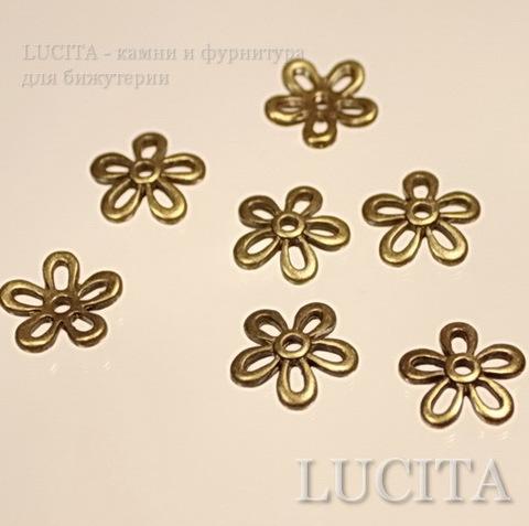 Шапочка в виде цветочка (цвет - античная бронза) 11,5 мм, 10 штук ()