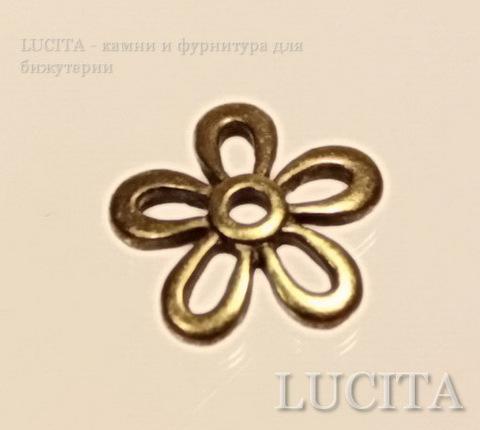 Шапочка в виде цветочка (цвет - античная бронза) 11,5 мм, 10 штук