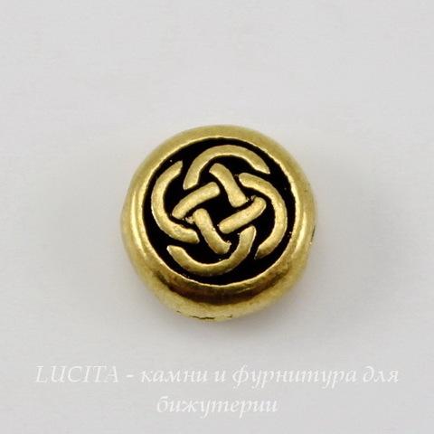 """Бусина круглая плоская TierraCast """"Кельтский узел"""" (цвет-античное золото) 7х3 мм"""