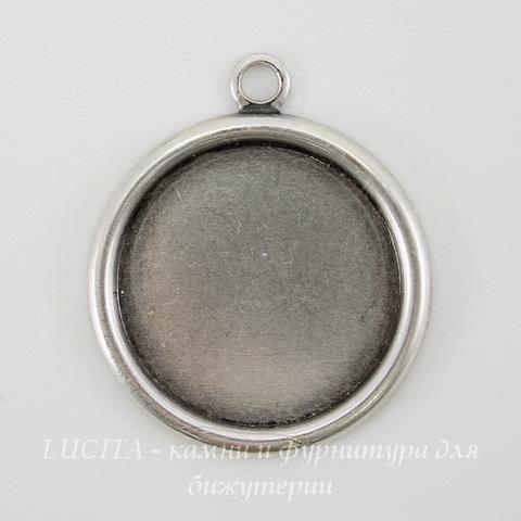 Сеттинг - основа - подвеска для камеи или кабошона 15 мм (оксид серебра)