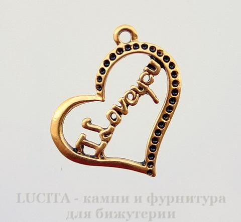 """Подвеска """"I Love you"""" (цвет - античное золото) 30х24 мм"""