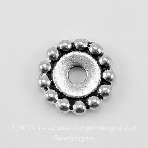 "Бусина - спейсер TierraCast ""Бусинки"" (цвет-античное серебро) 11х2 мм"