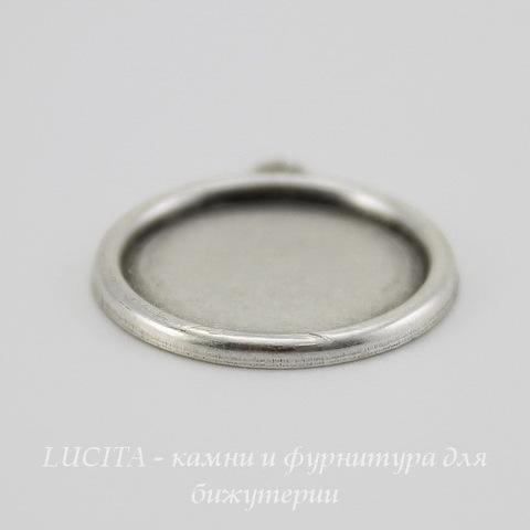 Сеттинг - основа - подвеска для камеи или кабошона 15 мм (оксид серебра) ()
