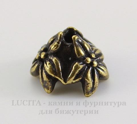 """Шапочка для бусины TierraCast """"Жасмин"""" (цвет-античная латунь) 7х4 мм"""