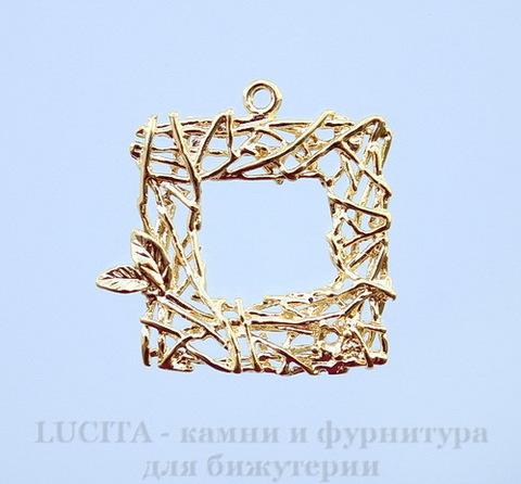 "Подвеска ""Гнездо - квадрат"" (цвет - золото) 22х22 мм"