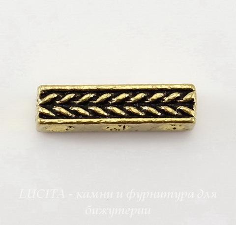 """Разделитель на 3 нити TierraCast """"Косичка"""" (цвет-античное золото) 15х4 мм"""