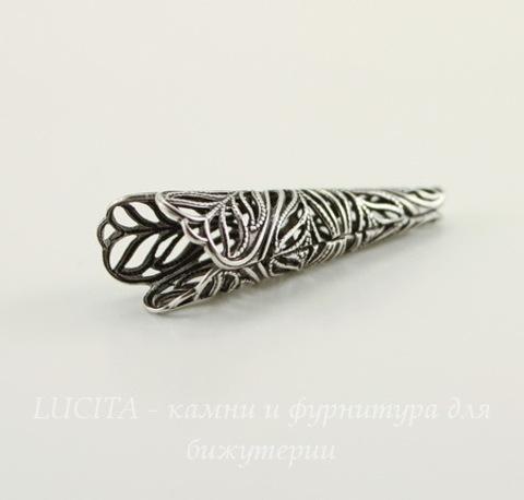 Винтажный декоративный элемент - шапочка - конус 37,5х12 мм (оксид серебра)