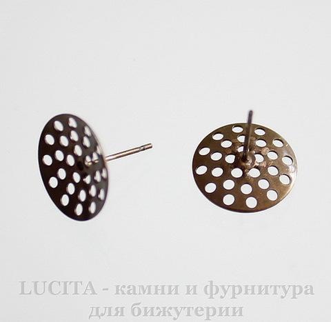 Пуссеты - гвоздики с круглой площадкой 14 мм (цвет - античная бронза)(без заглушек)