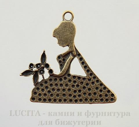 "Подвеска ""Принцесса"" (цвет - античная бронза) 41х39 мм"