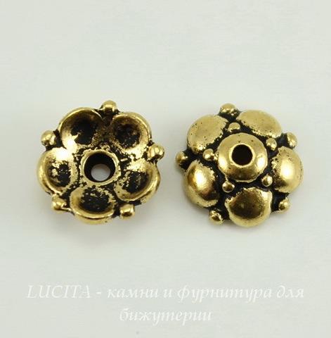 """Шапочка для бусины TierraCast """"Восточная"""" (цвет-античное золото) 9х4 мм"""