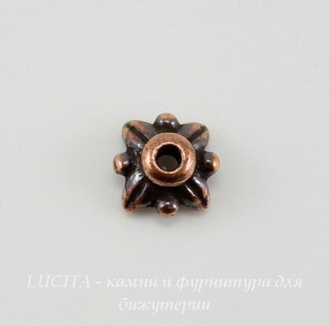 "Шапочка для бусины TierraCast ""4 листика"" (цвет-античная медь) 6х3 мм"