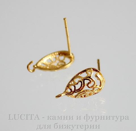 """Пуссеты- гвоздики """"Капля"""" с петелькой (цвет - золото)(без заглушек) 12 мм, пара"""