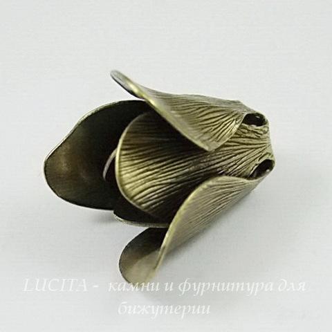 Винтажный декоративный элемент - шапочка с двойными лепестками 17х14 мм (оксид латуни)