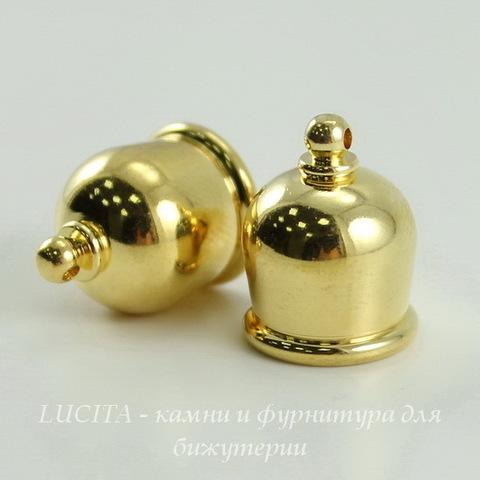 """Концевик для шнура 10 мм TierraCast """"Taj"""" (цвет-золото) 17х13 мм ()"""