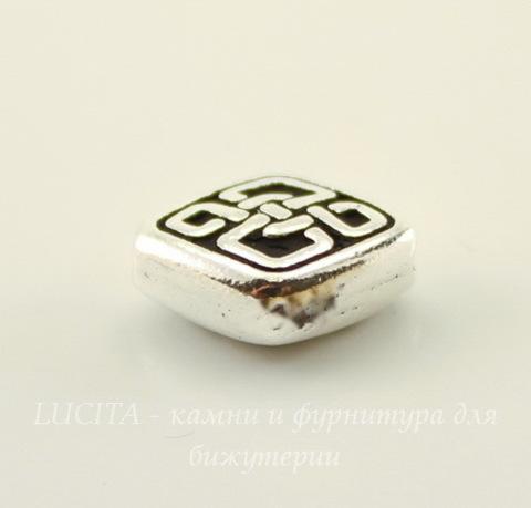 """Бусина ромб TierraCast """"Кельтская"""" 11х9 мм (цвет-античное серебро)"""