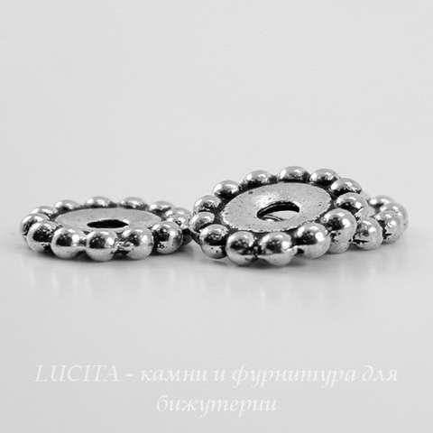 "Бусина - спейсер TierraCast ""Бусинки"" 11х2 мм (цвет-античное серебро) ()"
