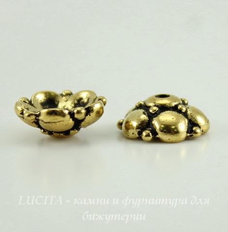 """Шапочка для бусины TierraCast """"Восточная"""" (цвет-античное золото) 9х4 мм ()"""