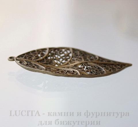 """Подвеска """"Лист ажурный"""" (цвет - античная бронза) 58х31 мм"""