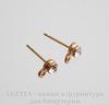 Пуссеты - гвоздики со стразом и петелькой (цвет - розовое золото) 14х5 мм (без заглушек), пара ()