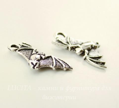 """Подвеска TierraCast """"Летучая мышь"""" (цвет-античное серебро) 23х11 мм"""