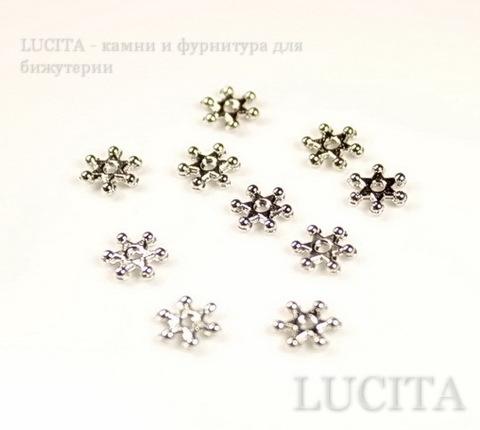 """Бусина металлическая - спейсер """"Снежинка"""" (цвет -  античное серебро) 7 мм, 10 штук"""