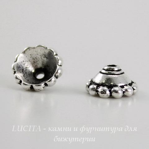 "Шапочка для бусины TierraCast ""Бусинки"" (цвет-античное серебро) 8х4 мм ()"